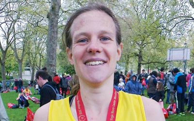 Rachel Lindley having run the London Marathon for TDT