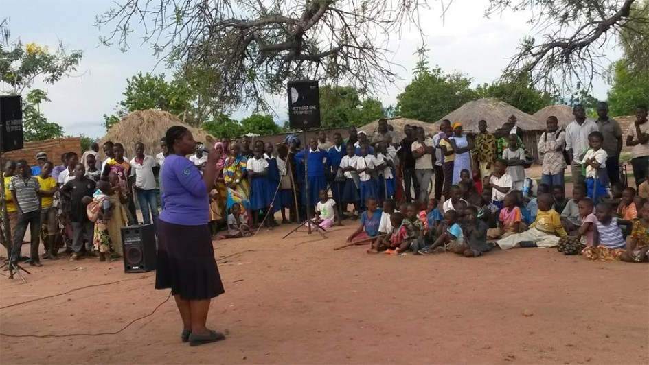 Rhobi Samwelli taking the anti-FGM message to a remote village