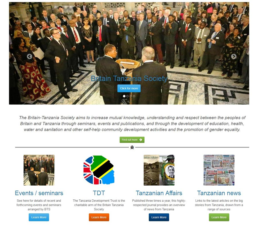 screenshot of Britain-Tanzania Society web site