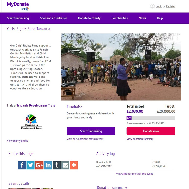 screenshot of mydonate page for tanzania development trust girls rights fund