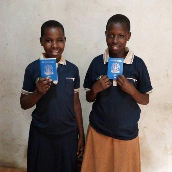 Neema and Rosie with new Tanzanian passports