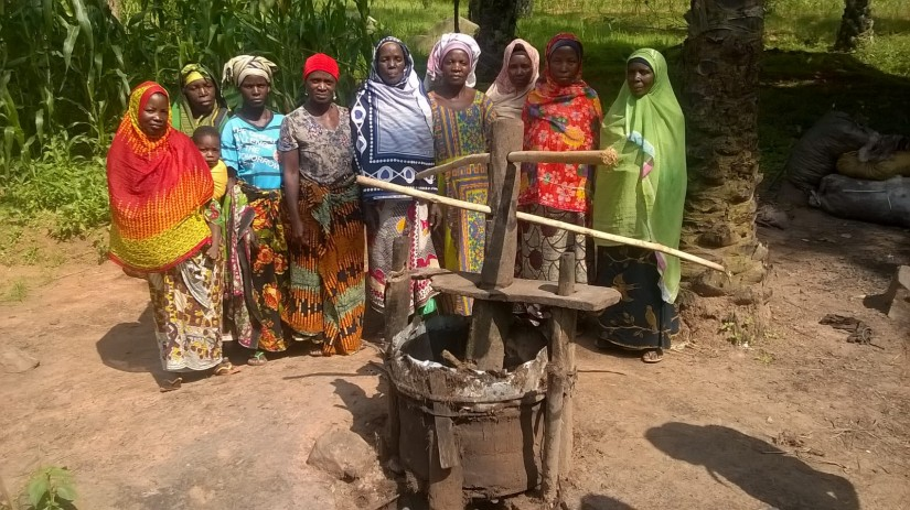 644  Mahembe women's group behind broken oil palm seed press