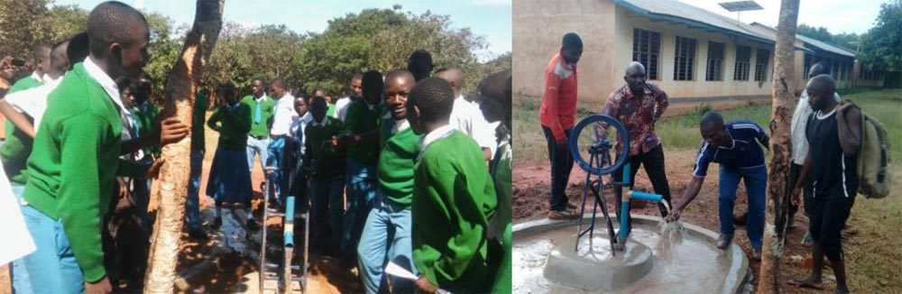 rope pump demonstrated at Kabagwe School