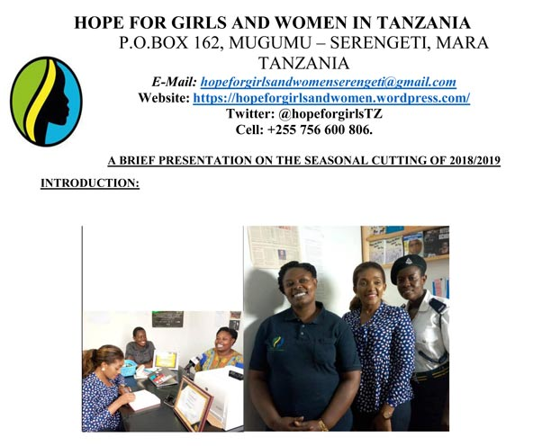 front cover Hope for Girls and Women Feb 2019 report